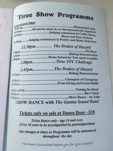 Tiree Show day - here's the programme